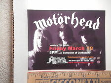 Motorhead Cleveland Ohio Agora Concert Advertising Card  213OF.