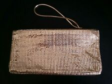 """Gold """"Glomesh""""  Purse with Zip Top & Wrist Strap."""