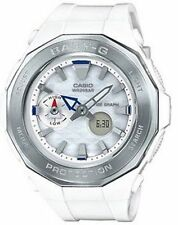Casio Women's BGA225-7A Beach Glamping Tide Graph White/Silver Watch