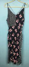 Topshop Black Pink White Floral Patchwork Strappy Split Front Midi Dress 16 -B58