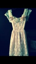 Vintage Gunne Sax Girl's Floral White Lace Pink Dress Size 8, Tea Length 1980's
