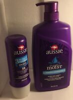 New 2 pk.(1)Aussie Shampoo Moist Pump 29.2 Oz.(1)Aussie 3 minute miracle condit