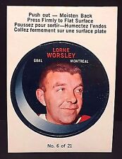 LORNE Gump WORSLEY 1968-69 O-Pee-Chee PUCK Stickers #6 RARE Vintage CANADIENS