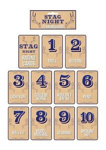 10 x FEMALE GIRL RATING CARDS GROOM TO BE STAG NIGHT OUT - NOVELTY FUN GAME uk