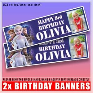 """2 PERSONALISED FROZEN II TWO PHOTO BIRTHDAY BANNERS 3 ft - 36 """"x 11"""" ELSA ANNA"""