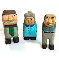 Set of (3) Handmade Wood Carved Old Folks Whimsical Art Figures Signed 2007 CJB
