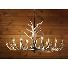 Rustic Whitetail Antler Chandelier 6 Lights Cascade Hanging Lodge Decor New