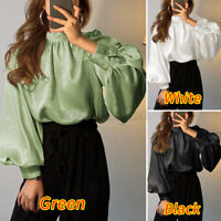 AU Womens Victorian Blouse Shirt Elegant Tunic Tops Puff Sleeve Solid Hips Tops