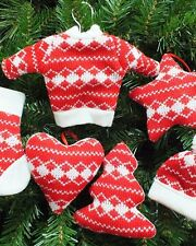 12 Assorted Knitted Red/White Christmas Tree Decorations