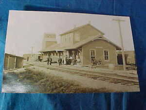 Early 20thc NORTHERN PACIFIC Railroad DEPOT Real Photo POSTCARD Sheyenne N.D.