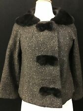 "50s 60s Wool Tweed Jacket With Fur Collar And Button Trim ""Townley """