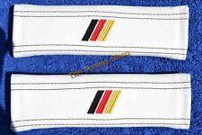 """2x Cintura di sicurezza abbraccia PADS IN PELLE BIANCA """"M3 / / / tedesco"""" ricami per BMW"""