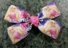 Lot of 2 Barbie pink and purple hair bow toddler baby girl alligator clip