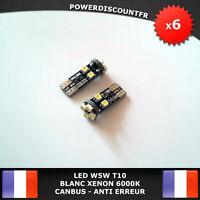 6 Veilleuses LED W5W T10 Canbus ANTI ERREUR ODB Blanc XENON 8 SMD voiture moto