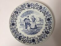 "Vintage MR Holland Boch Delfts Blue & White Plate, 8 1/2"" Diameter"