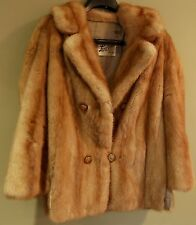 "Vintage 60's REAL MINK Fur Coat Jacket 28"" long/42"" chest women's fashion collar"