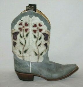 Ladies Justin Boots Size 8.5B Denim Blue Snip Toe Floral Butterfly Style L6303