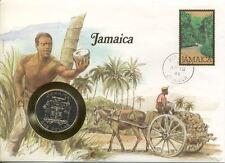 superbe enveloppe JAMAIQUE JAMAICA pièce monnaie 1 dollar 1982 NEUF UNC NEW FOOT