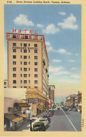 Linen Postcard A714 Stone Avenue Looking South Tucson AZ Pioneer Hotel Arizona
