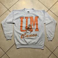 Vintage 90's University of Miami Hurricanes Crewneck Sweatshirt Large Medium USA