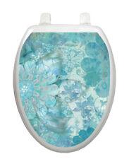 Toilet Tattoo Vinyl Lid Cover Removable Reusable Blue Floral Haze 1088