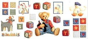 26 Jumbo Blue Jean Teddy Bear 18x40 Wall Stickers Baby Nursery Stick Up Reusable