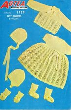 Baby Knitting Pattern Copy Matinee Jacket Dress Bonnet and Bootees in 3 Ply