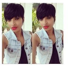 No Lace Brazilian Human hair Short Straight Black Pixie Cut Hair Wig For women