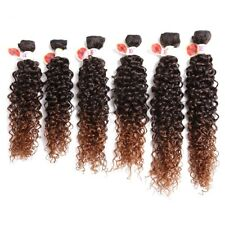 6 Bundle Synthetic Kinky Curly Ombre Hair Weave Full Head Weaving Hair Extension