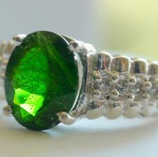 NATURAL CHROME  DIOPSIDE 925 SILVER RING 26.05ct,Vintage Estate Jewelry. Sz 6.75