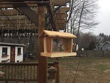 Handmade Wooden Cedar Hanging Bird Feeder With Metal Chain Well Made