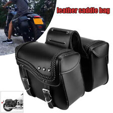 Universal Motorcycle Scooter Pannier Bag Luggage Saddlebag w/ Rain Cover Black