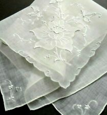 "Vintage Madeira Embroidery Flower Hanky 15"" Batiste Cotton, Embroidery 4 Corners"