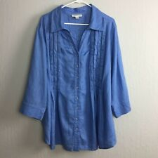 Coldwater Creek Sz 3X (24W-26W) Blue Linen Pleated V-Neck Blouse Smock