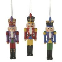 "Nutcracker Soldier Ornament Set 3 Red Purple Blue 4 "" Christmas Decor"