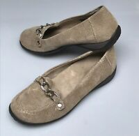 VIONIC Orthaheel Alda Tan Leather Lizard Chain Loafers Shoes Womens Size 7.5