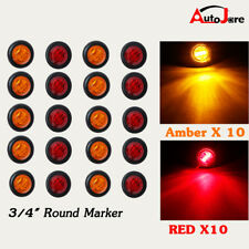 "20x LED Round Marker Light 3/4"" Amber Red Clearance 3 LED Bullet Flush Mount 12V"