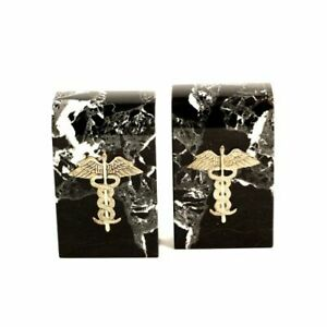"Black ""Zebra"" Medical Marble Bookends, Gold Plated Emblem"