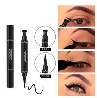2 in 1 Eyeliner Stamp Waterproof Makeup Eye Liner Pencil Ended Black Liquid