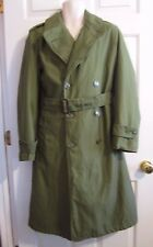 VINTAGE U.S. ARMY OD MILITARY Men Trenchcoat Overcoat Lined Belt Small REG 1963