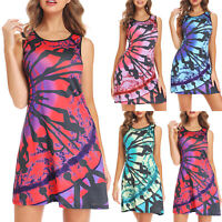 Plus Size Women's Floral Sleeveless Tunic Dress Summer Beach Short Mini Dress