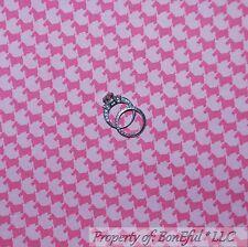 BonEful Fabric FQ Cotton Quilt Pink Scottie Dog Baby Girl Puppy Stripe Check OOP