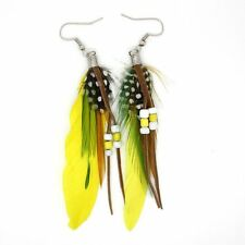 High quanlity feather dangle earrings with bead multiple colours,UK seller, fast