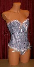 Lingerie-Sexy Underwire Bustier/Baby Doll Set-Blue/Pink(S)