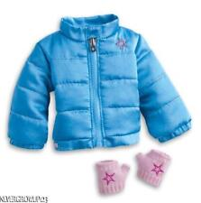 AMERICAN GIRL BLUE PUFFY WINTER JACKET~COAT   CHARM~FINGERLESS MITTENS~NIB