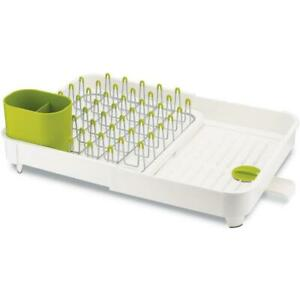 Joseph Joseph White & Green Metal Versatile Expandable Dish Rack - Family Sized