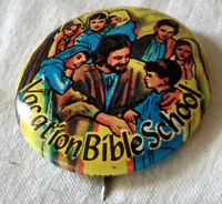 Concordia Vacation Bible School Pinback Pin Button Badge VTG Jesus Xian Kids