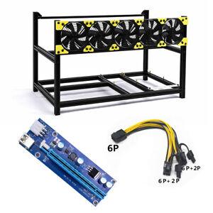 Veddha 6 GPU Mining Aluminum Housing Stackable Frame BTC ETH + Cable Board + Fan