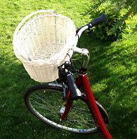 Fahrradkorb Weidenkorb Hundekorb oval Fahrrad Korb Lenkerkorb SHABBY WEIß Neu