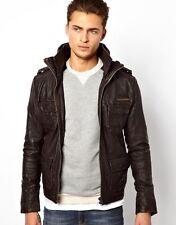 Men's Superdry Brad Brown Leather Jacket Coat - XL